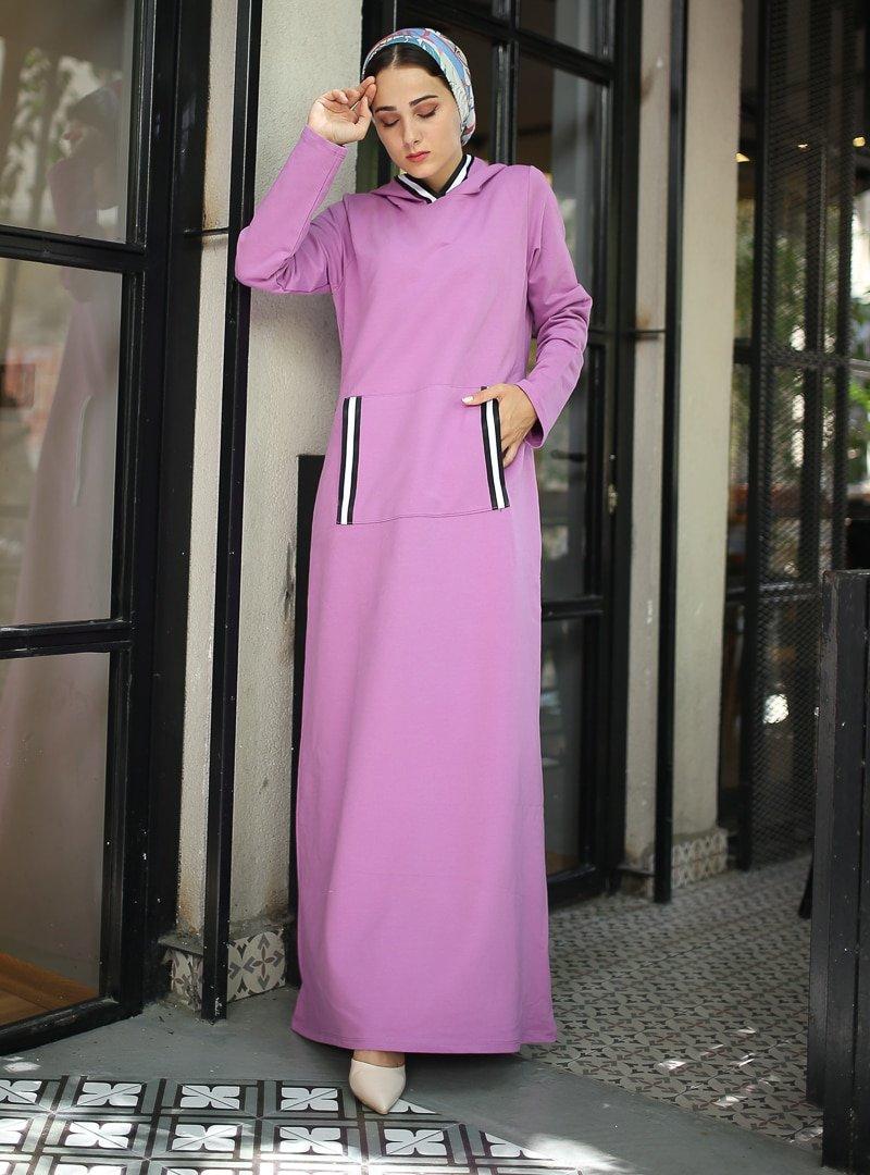 XTREND Mor Cep Detaylı Elbise