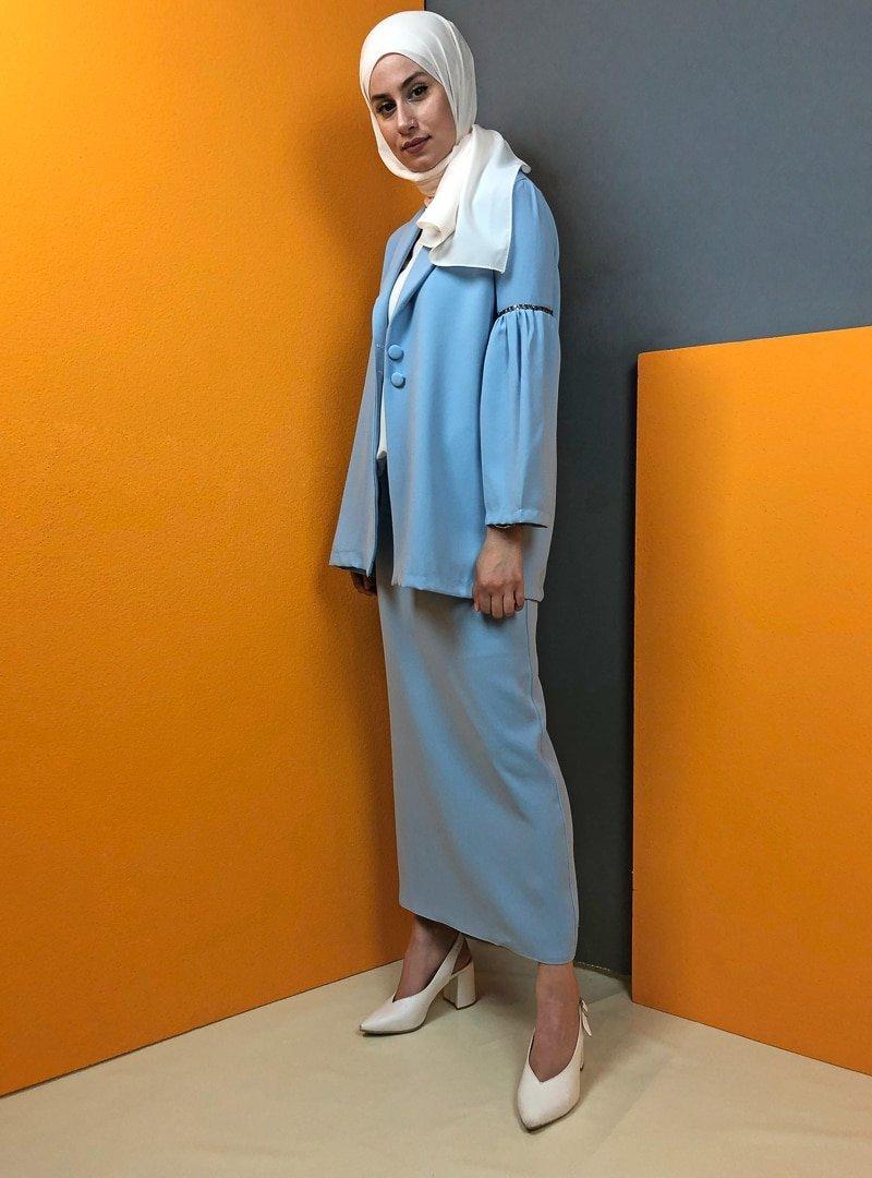 Aydazen Bebe Mavisi Taşlı Etek&Ceket İkili Takım