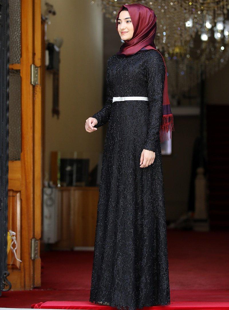 Rabeysa Siyah Defne Abiye Elbise