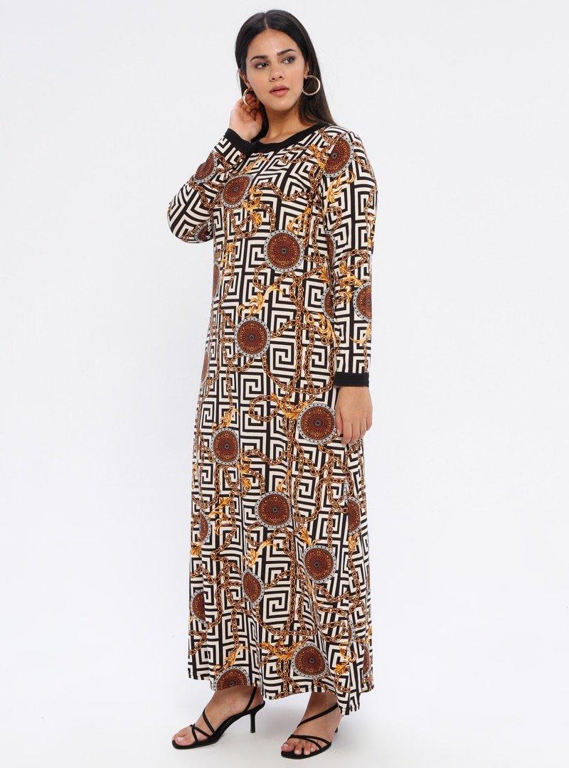 GELİNCE Siyah Geometrik Desenli Elbise