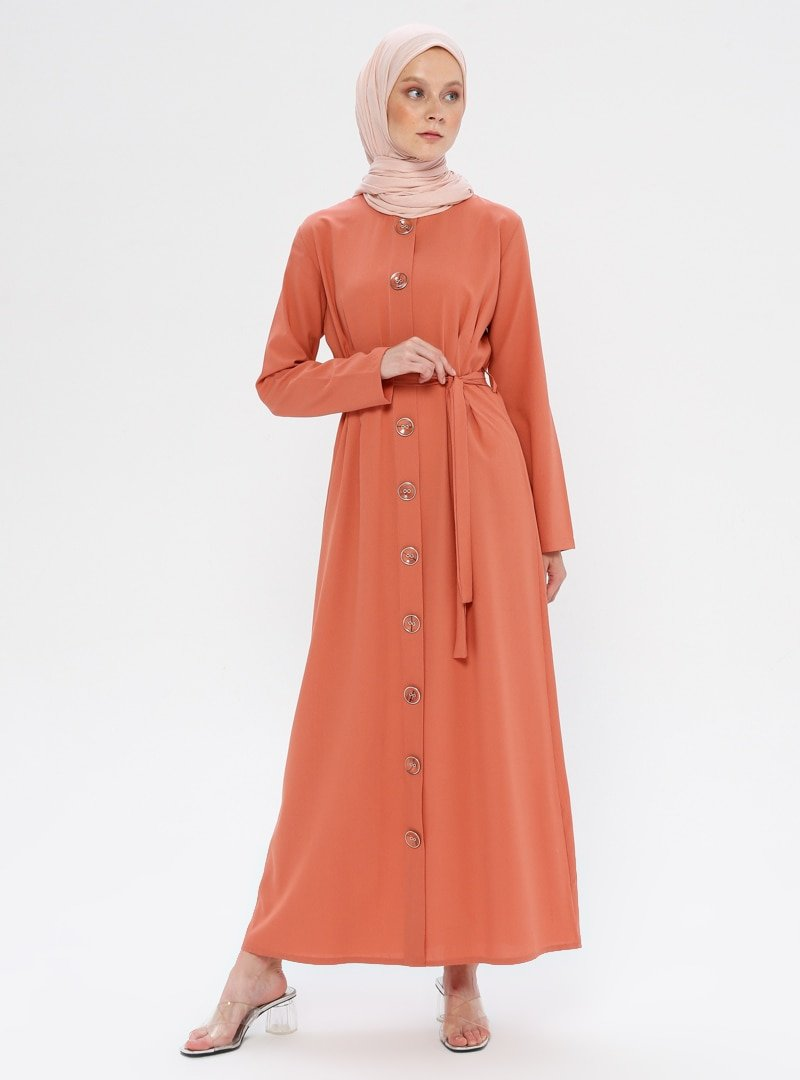 Pink Lady`s Somon Düğme Detaylı Elbise