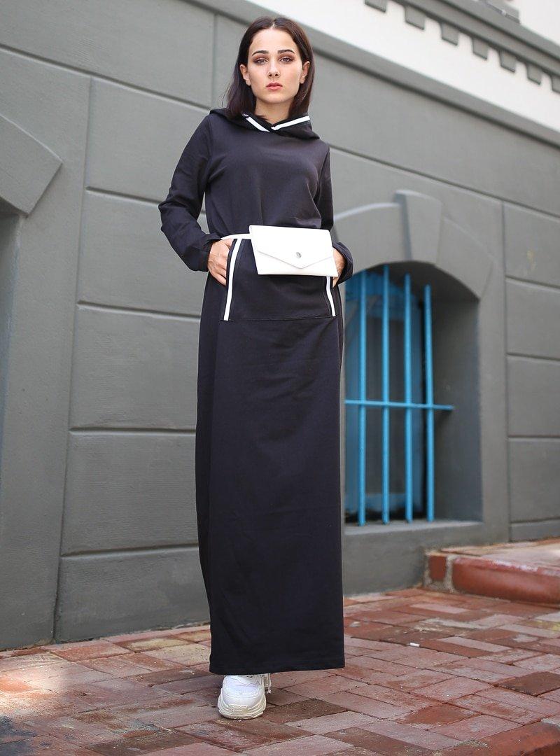 XTREND Siyah Cep Detaylı Elbise