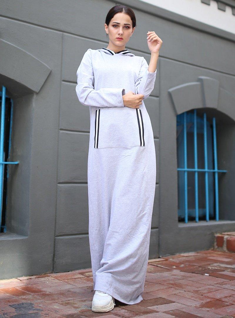 XTREND Gri Cep Detaylı Elbise