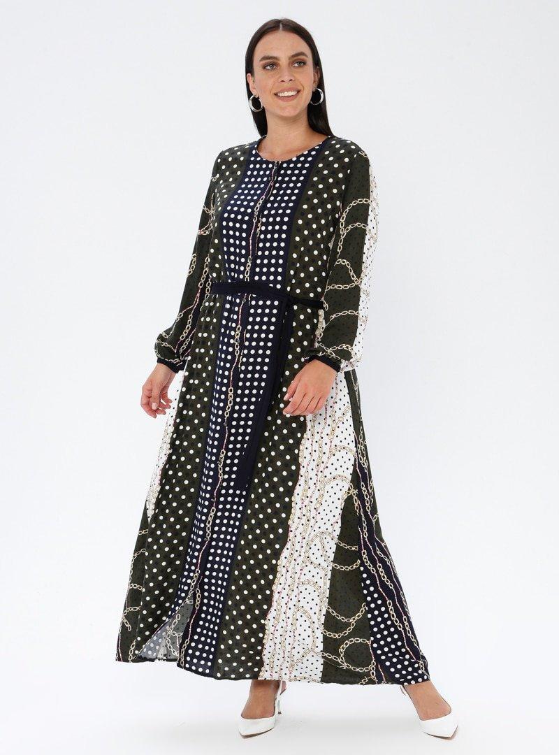 GELİNCE Haki Çok Renkli Desenli Elbise