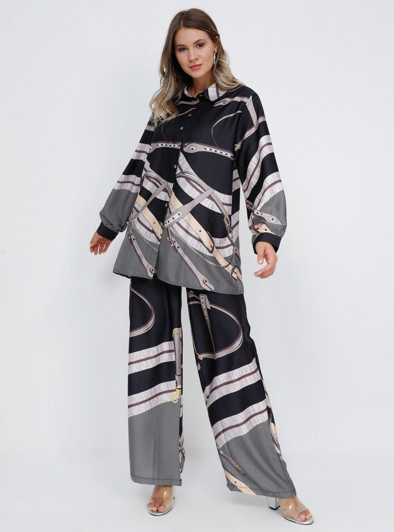 Alia Siyah Gri Tunik&Pantolon İkili Takım