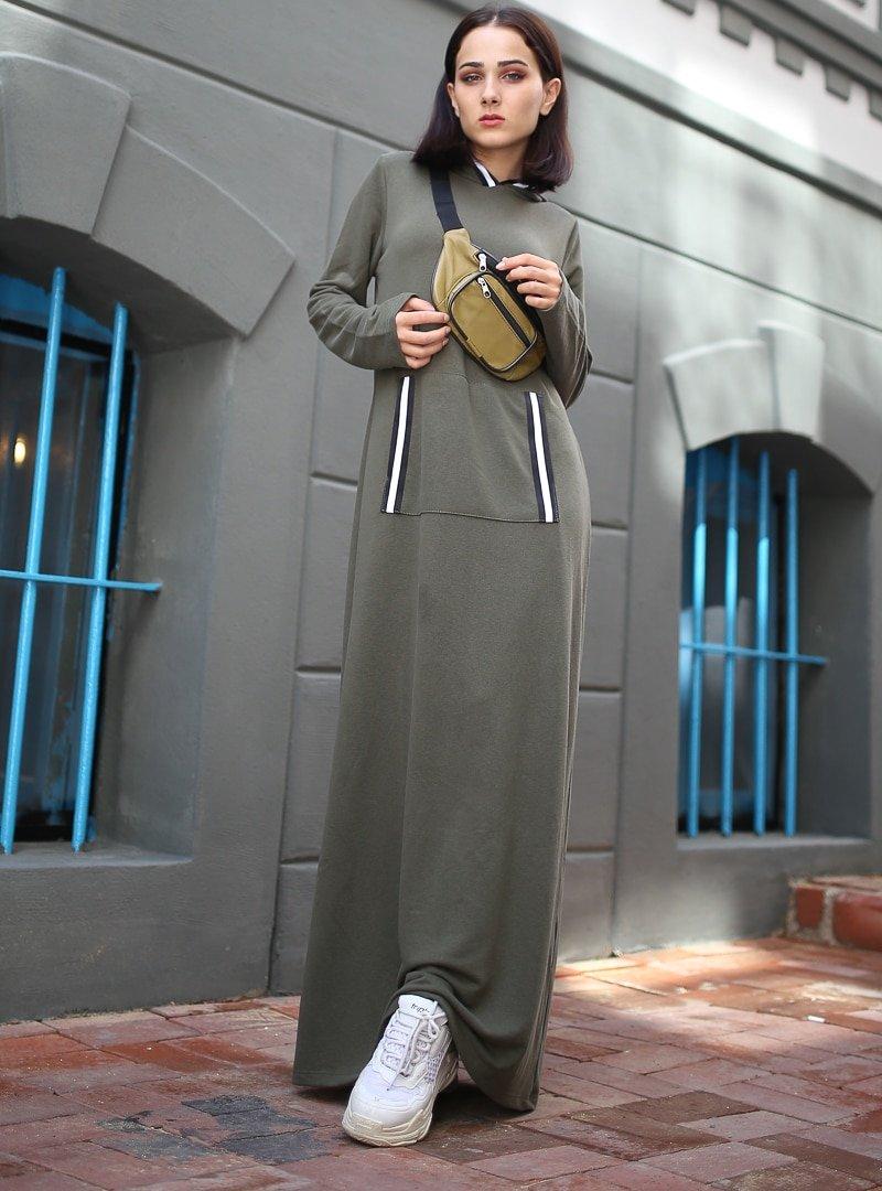 XTREND Haki Cep Detaylı Elbise