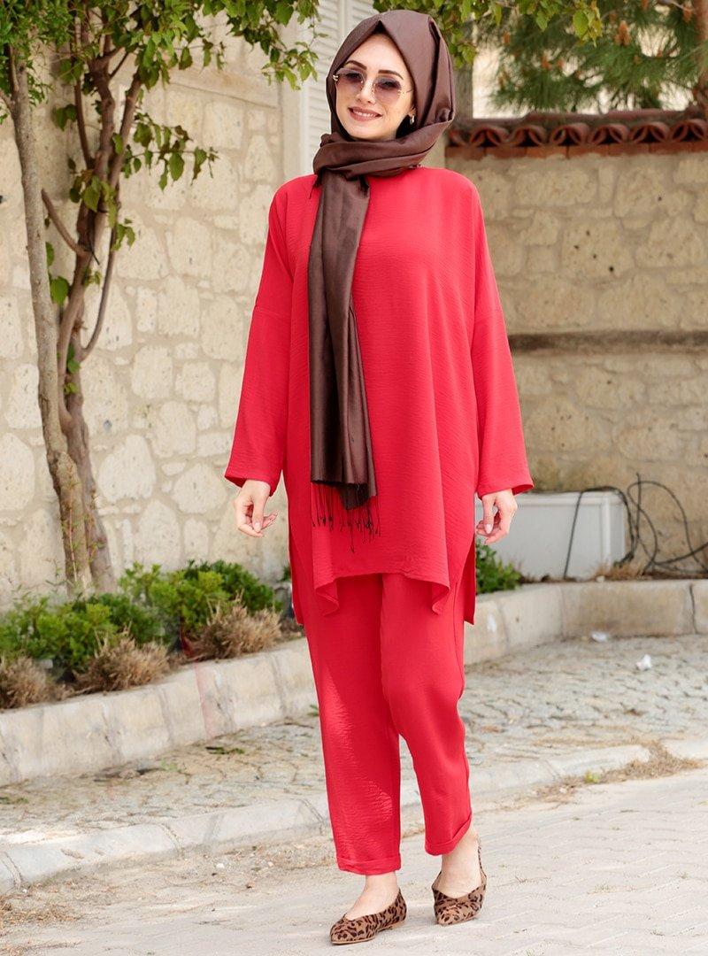 Gamze Özkul Kırmızı Liya Tunik&Pantolon İkili Takım