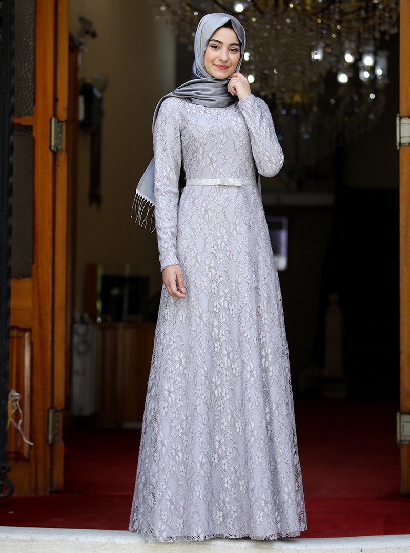 Rabeysa Gri Defne Abiye Elbise
