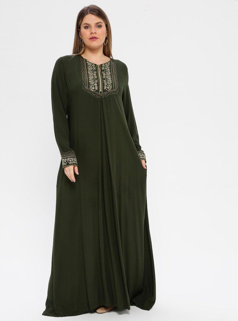 Ginezza Plus Haki Nakışlı Elbise