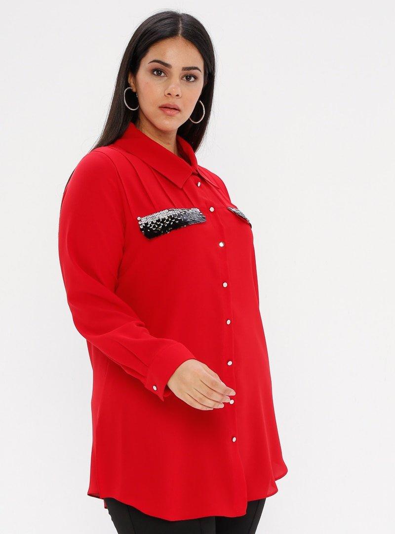 he&de Kırmızı Payet Detaylı Gömlek
