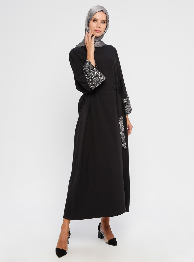 APSEN Siyah Payet Detaylı Salaş Elbise