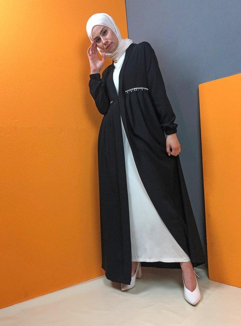 Aydazen Siyah Beli Pileli Abaya