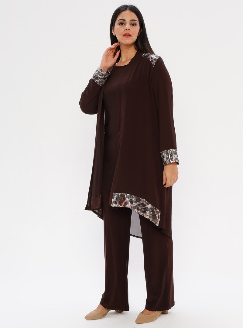 he&de Kahverengi Tunik&Ceket&Pantolon Üçlü Takım