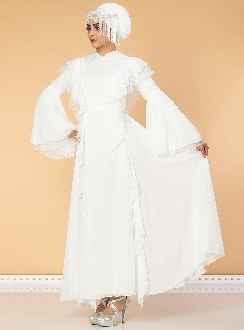 Moda Ravza Beyaz Fırfırlı Tüllü Abiye Elbise