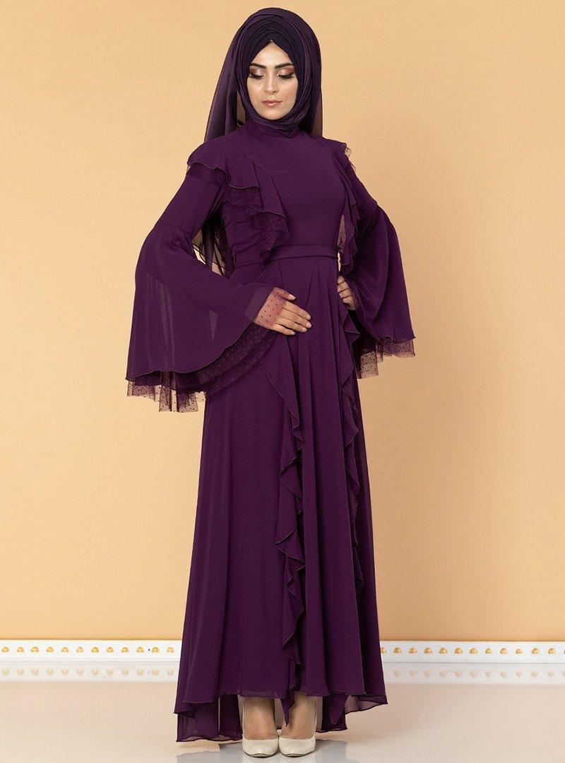 Moda Ravza Mor Fırfırlı Tüllü Abiye Elbise