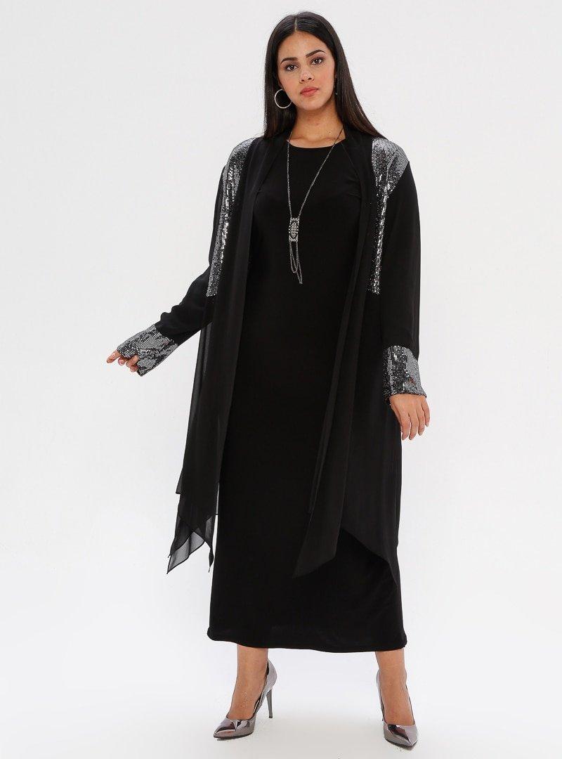 he&de Gümüş Payetli Tül Ceket&Elbise İkili Takım