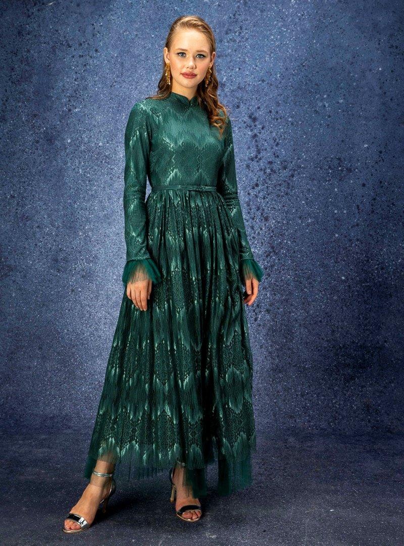 Eldia İstanbul Yeşil Alya Abiye Elbise