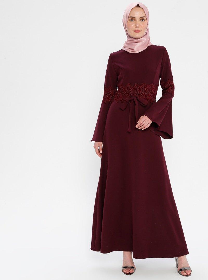 BÜRÜN Koyu Vişne Güpür Detaylı Elbise