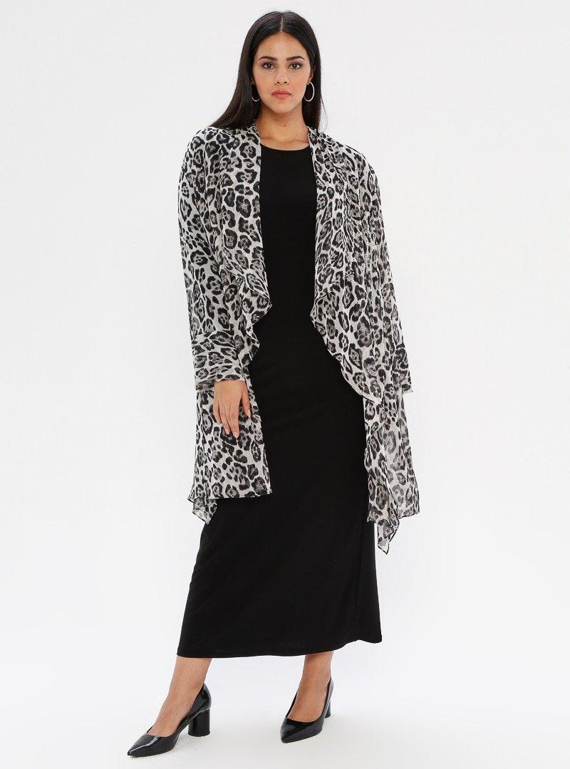 he&de Siyah Taş Baskılı Asimetrik Ceket&Elbise İkili Takım
