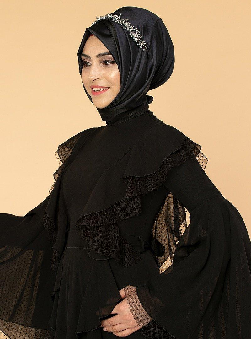 Moda Ravza Siyah Fırfırlı Tüllü Abiye Elbise