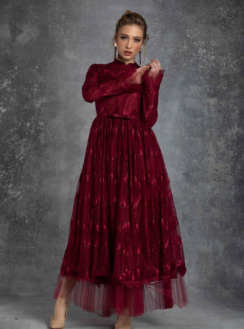 Eldia İstanbul Bordo Alya Abiye Elbise