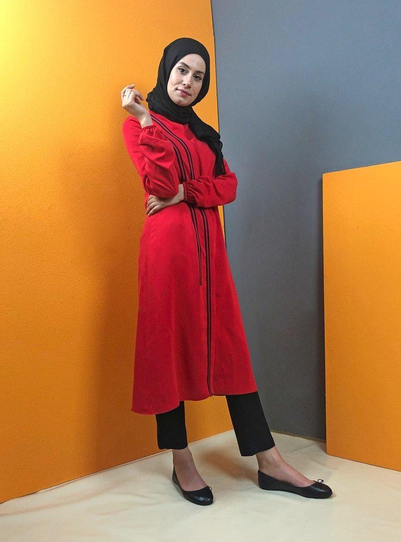 Aydazen Kırmızı Keten Şeritli Tunik