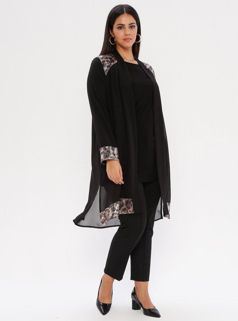 he&de Siyah Tunik&Ceket&Pantolon Üçlü Takım