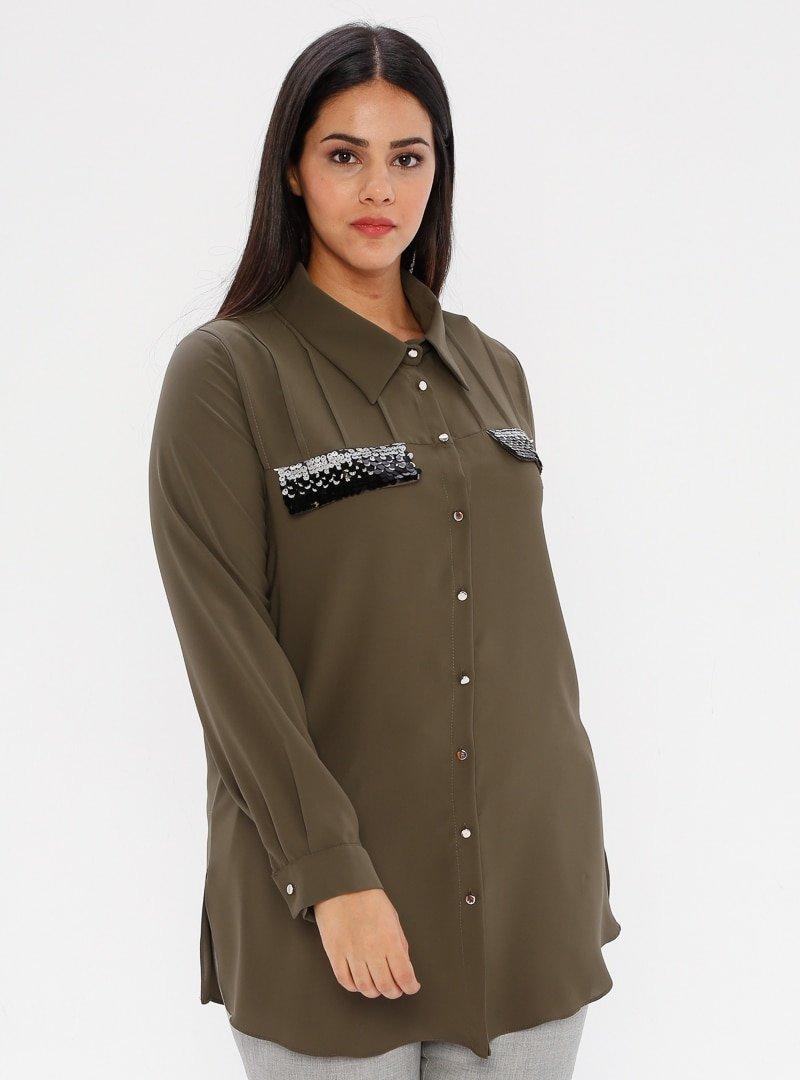 he&de Haki Payet Detaylı Gömlek