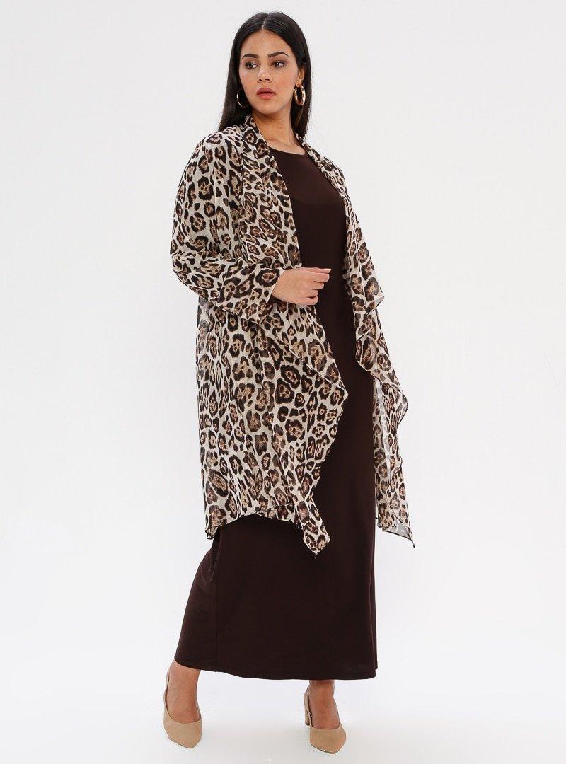 he&de Kahverengi Taş Baskılı Asimetrik Ceket&Elbise İkili Takım