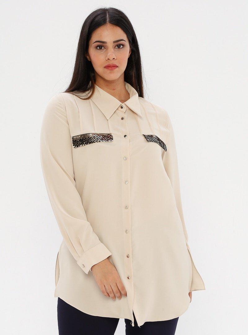 he&de Taş Payet Detaylı Gömlek