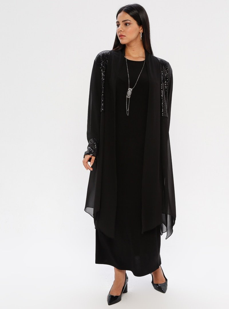 he&de Siyah Payetli Tül Ceket&Elbise İkili Takım
