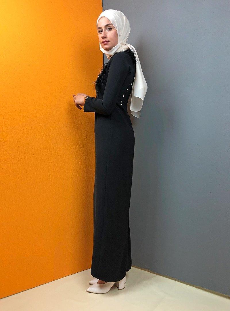 Aydazen Siyah Tüylü Taş Detaylı Elbise