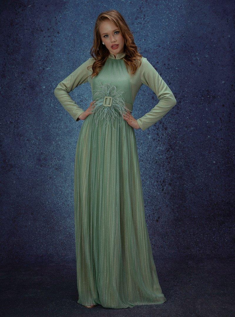 Eldia İstanbul Nil Yeşili Velya Abiye Elbise