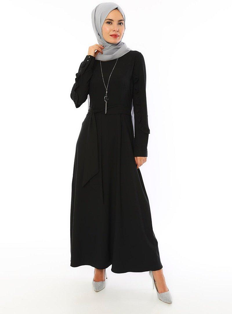 APSEN Siyah Valencia Elbise