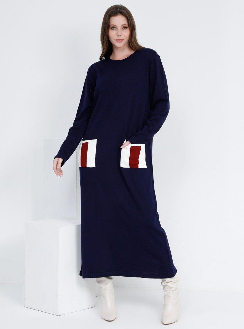 Alia Lacivert Cep Detaylı Triko Elbise