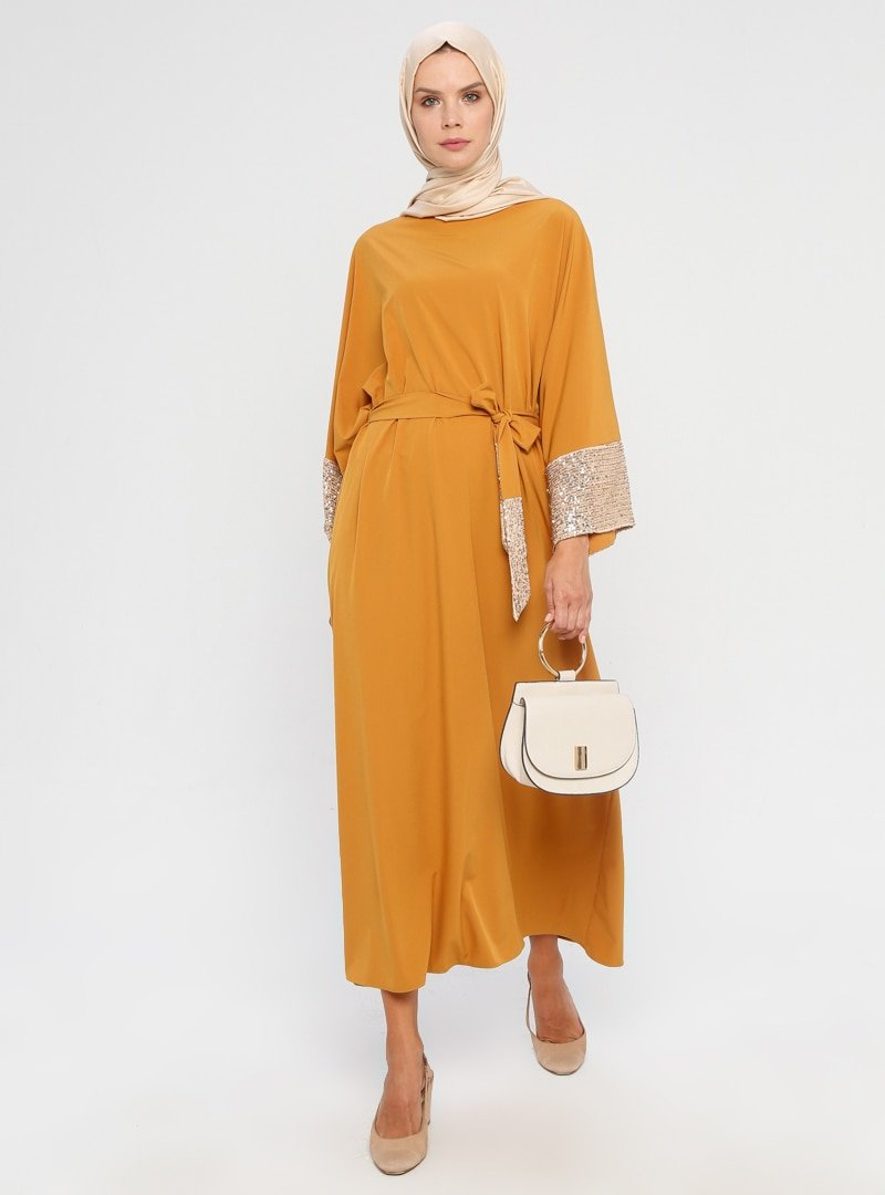 APSEN Hardal Payet Detaylı Salaş Elbise