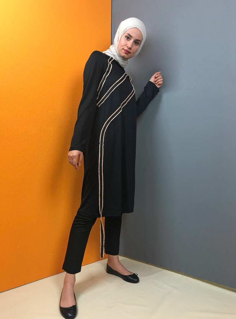Aydazen Siyah Şeritli Tunik