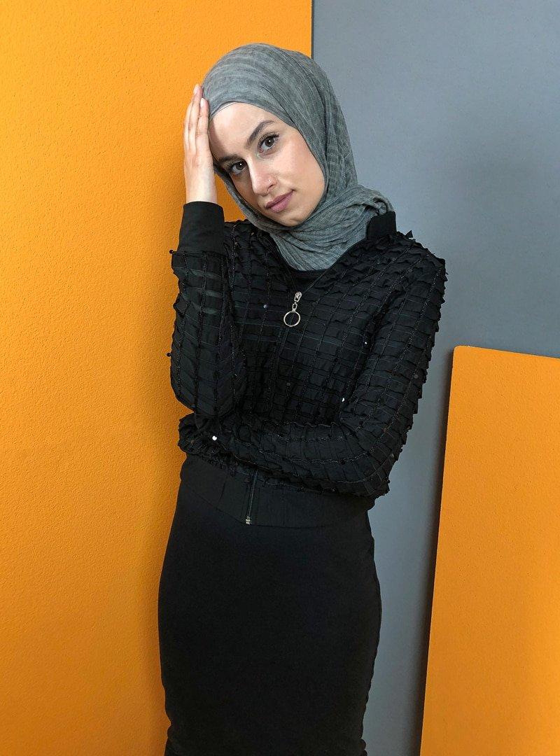 Aydazen Siyah Pullu Ceket