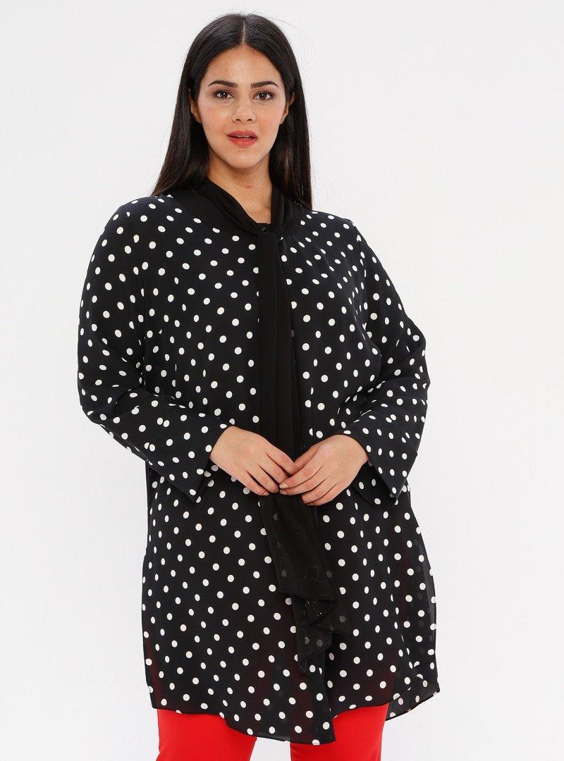 he&de Siyah Fular Detaylı Puantiyeli Bluz