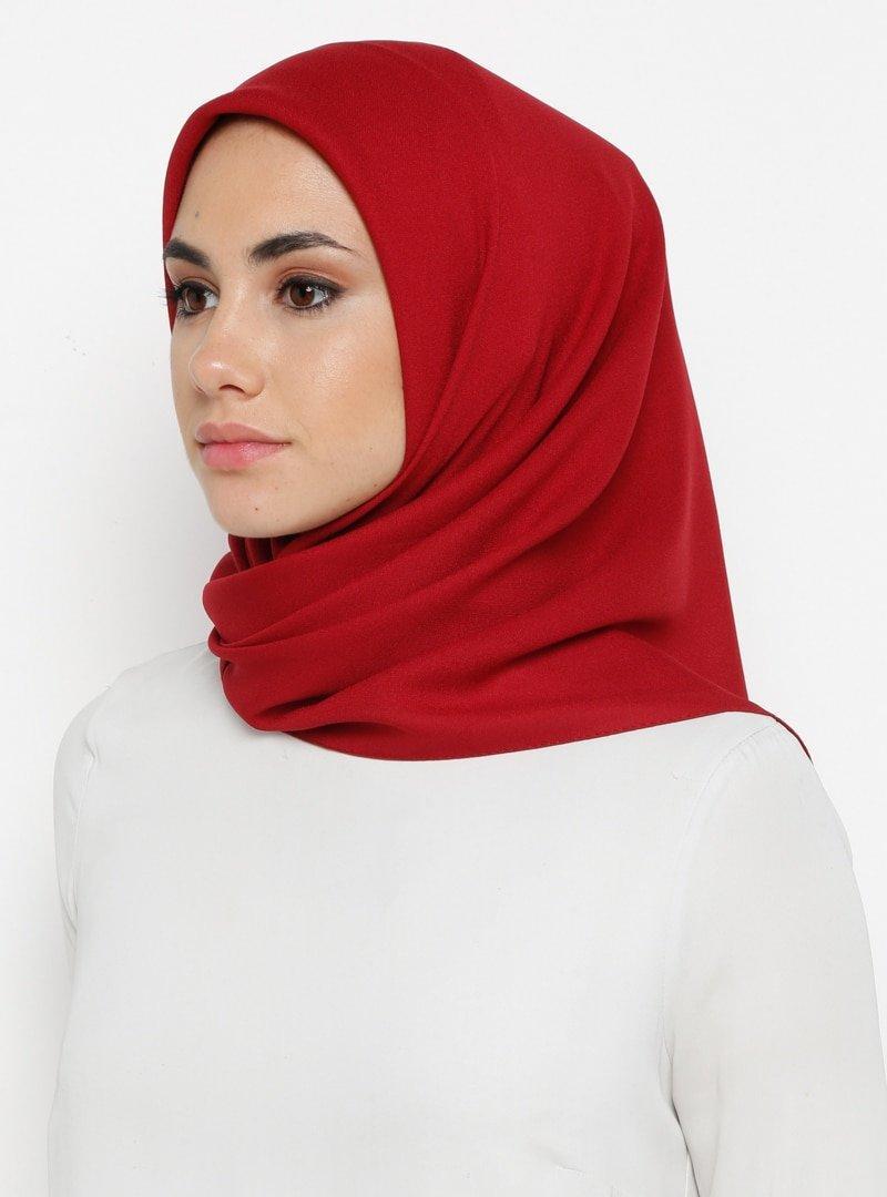 Mısırlı Kırmızı Alize Krep Düz Eşarp