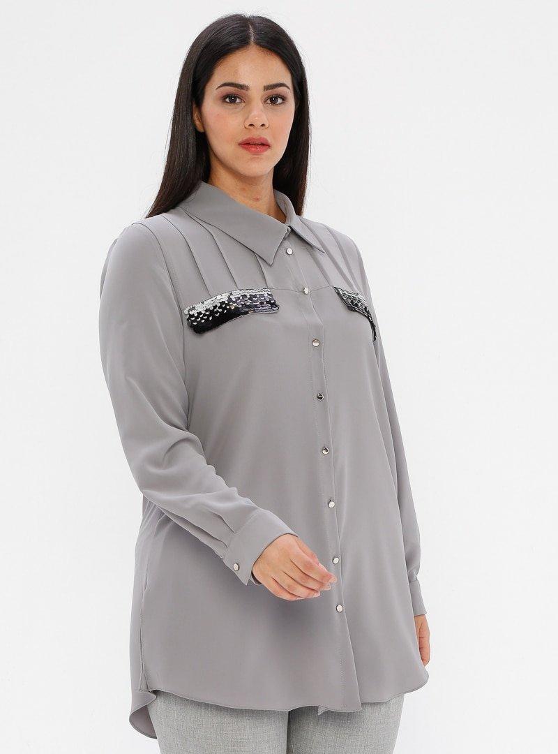 he&de Gri Payet Detaylı Gömlek