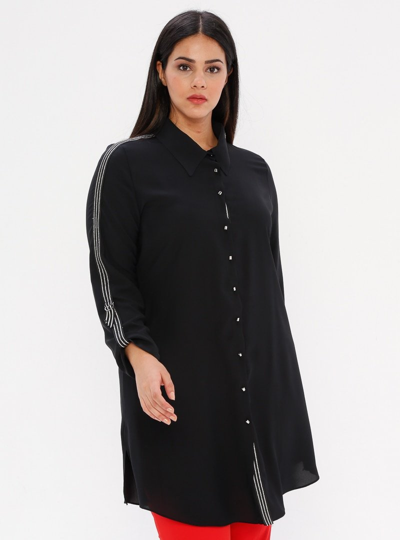 he&de Siyah Simli Kontrast Şeritli Gömlek