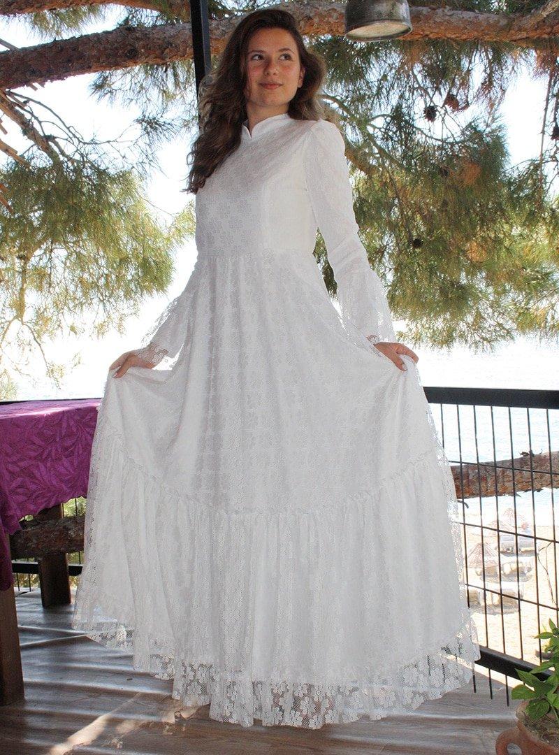 AGONYA MODA Kırık Beyaz Dantelli Abiye Elbise