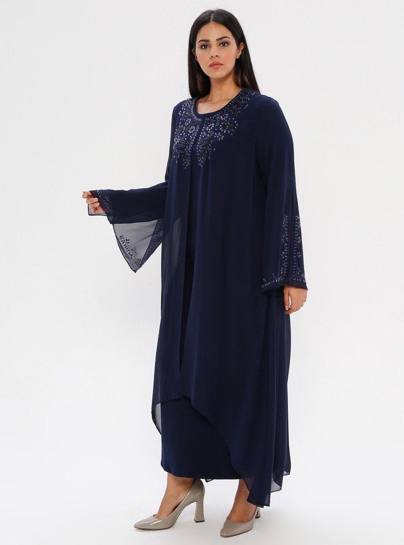 he&de Lacivert Drop Baskılı Abiye Elbise