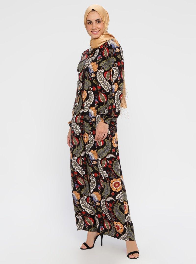Topless Siyah Karışık Desenli Elbise