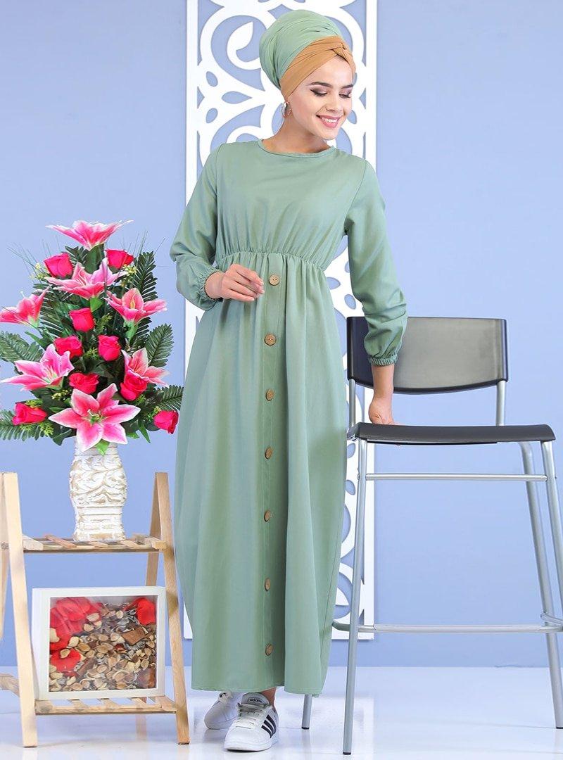 Tofisa Yeşil Düğme Detaylı Elbise