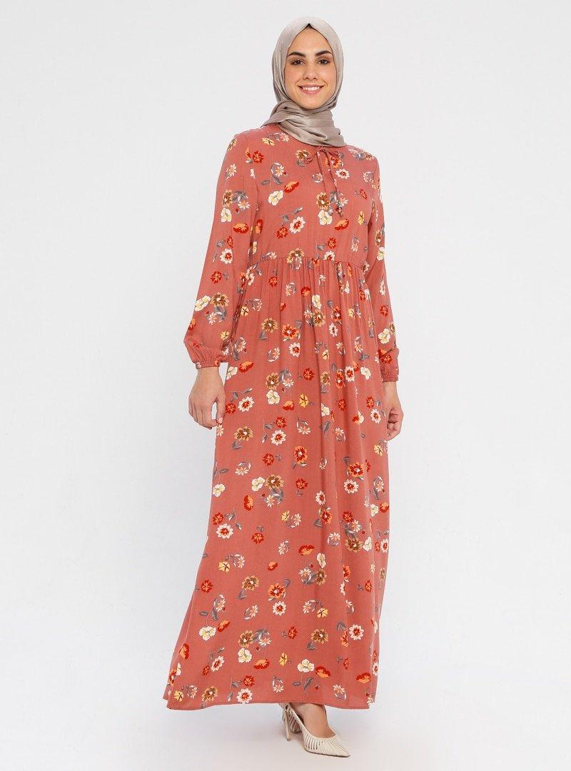 ECESUN Gül kurusu Beli Lastikli Çiçek Desenli Elbise