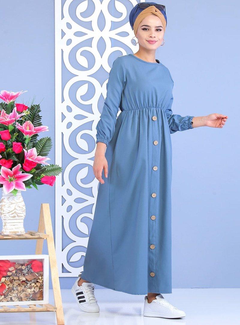 Tofisa Mavi Düğme Detaylı Elbise