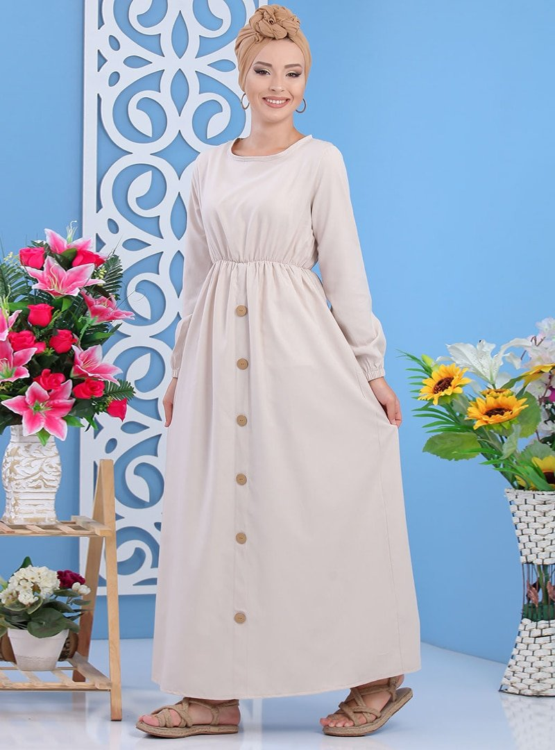 Tofisa Taş Düğme Detaylı Elbise