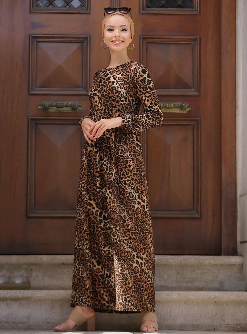 Tofisa Vizon Leopar Desenli Elbise